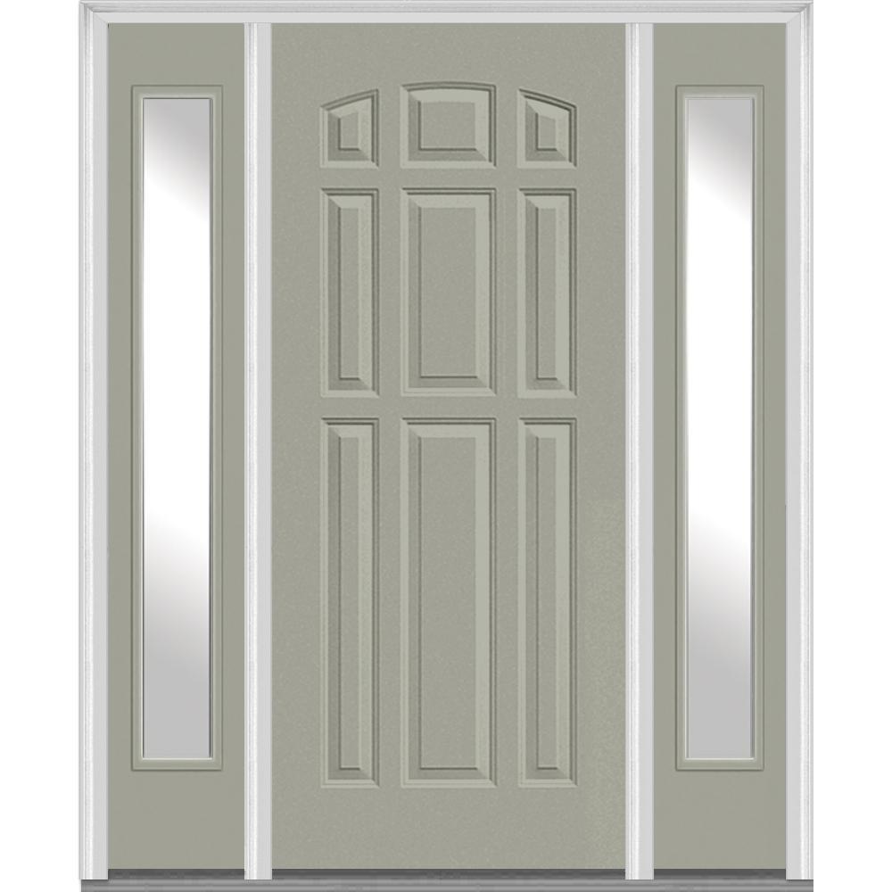 64.5 in. x 81.75 in. 9-Panel Painted Fiberglass Smooth Exterior Door with Sidelites