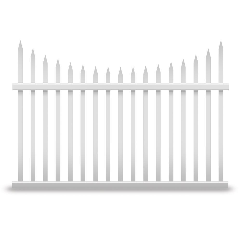 Stratford 4 ft. H x 8 ft. W White Vinyl Picket Fence Panel