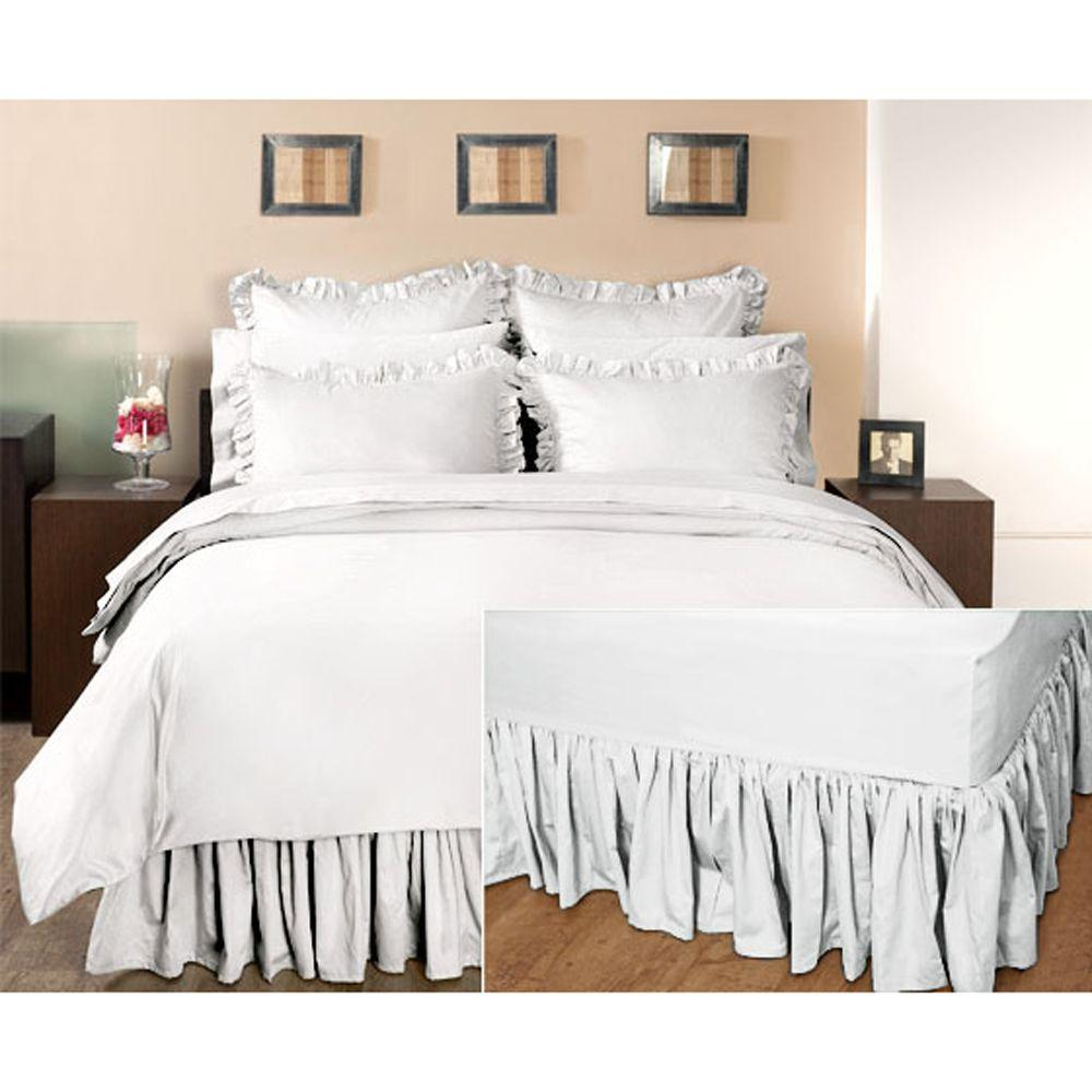 Home Decorators Collection Ruffled Nano White King Bedskirt