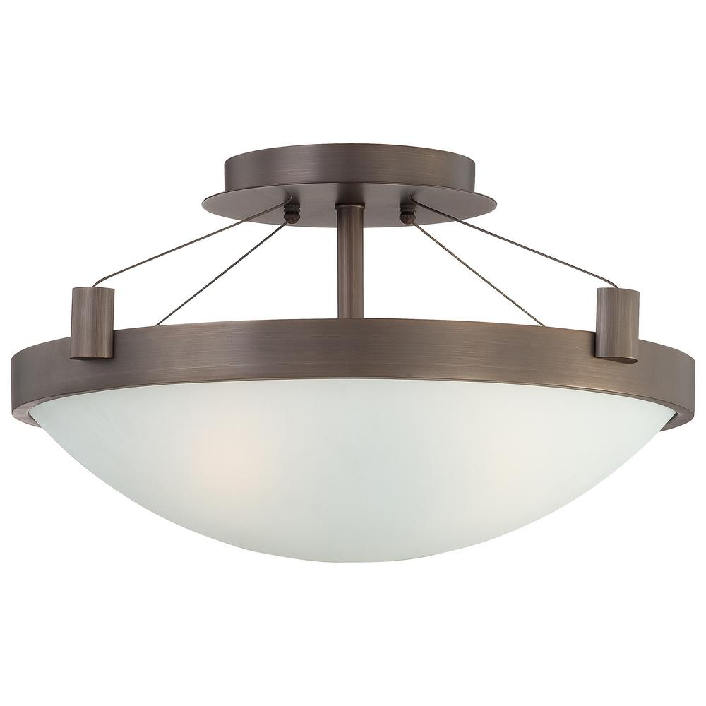 Suspended 3-Light Copper Bronze Patina Semi Flush Mount
