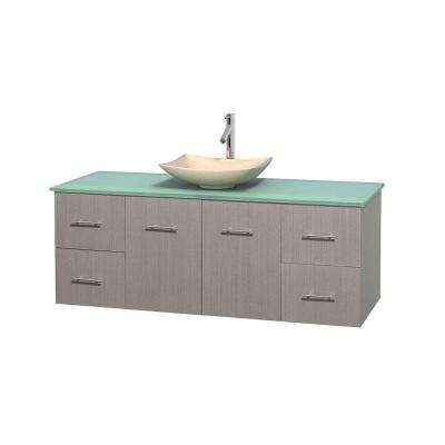 Centra 60 in. Vanity in Gray Oak with Glass Vanity Top in Green and Sink