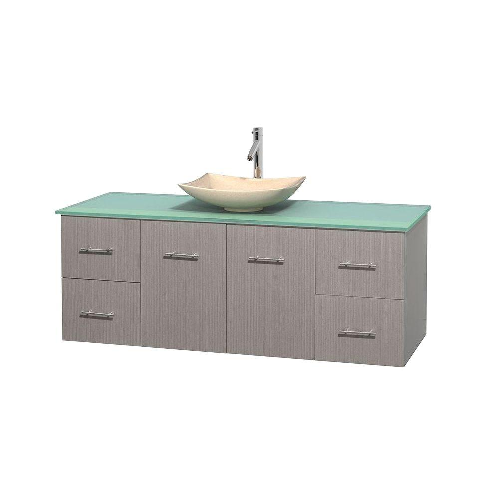Wyndham Collection Centra 60 in. Vanity in Gray Oak with Glass Vanity Top in Green and Sink