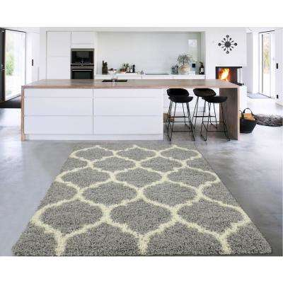 Cozy Shag Collection Gray/Cream Moroccan Trellis Design 8 ft. x 10 ft. Contemporary Shag Area Rug
