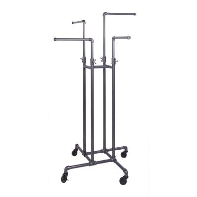 Pipeline Gray Steel Adjustable Clothes Rack with Wheels (16 in. W x 72 in. H)