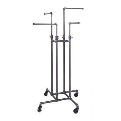 Pipeline 16 in. W x 72 in. H 4-Way Adjustable Height Gray Rolling Garment Rack