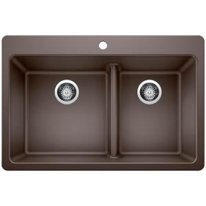 Mont Blanc Waterbrook Dual Mount Composite Granite 33 In 4 Hole Double Bowl Kitchen Sink In White 79400q The Home Depot