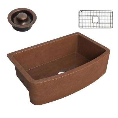 Pieria Copper 33 in. 0-Hole Single Bowl Farmhouse Kitchen Sink in Hammered Antique Copper