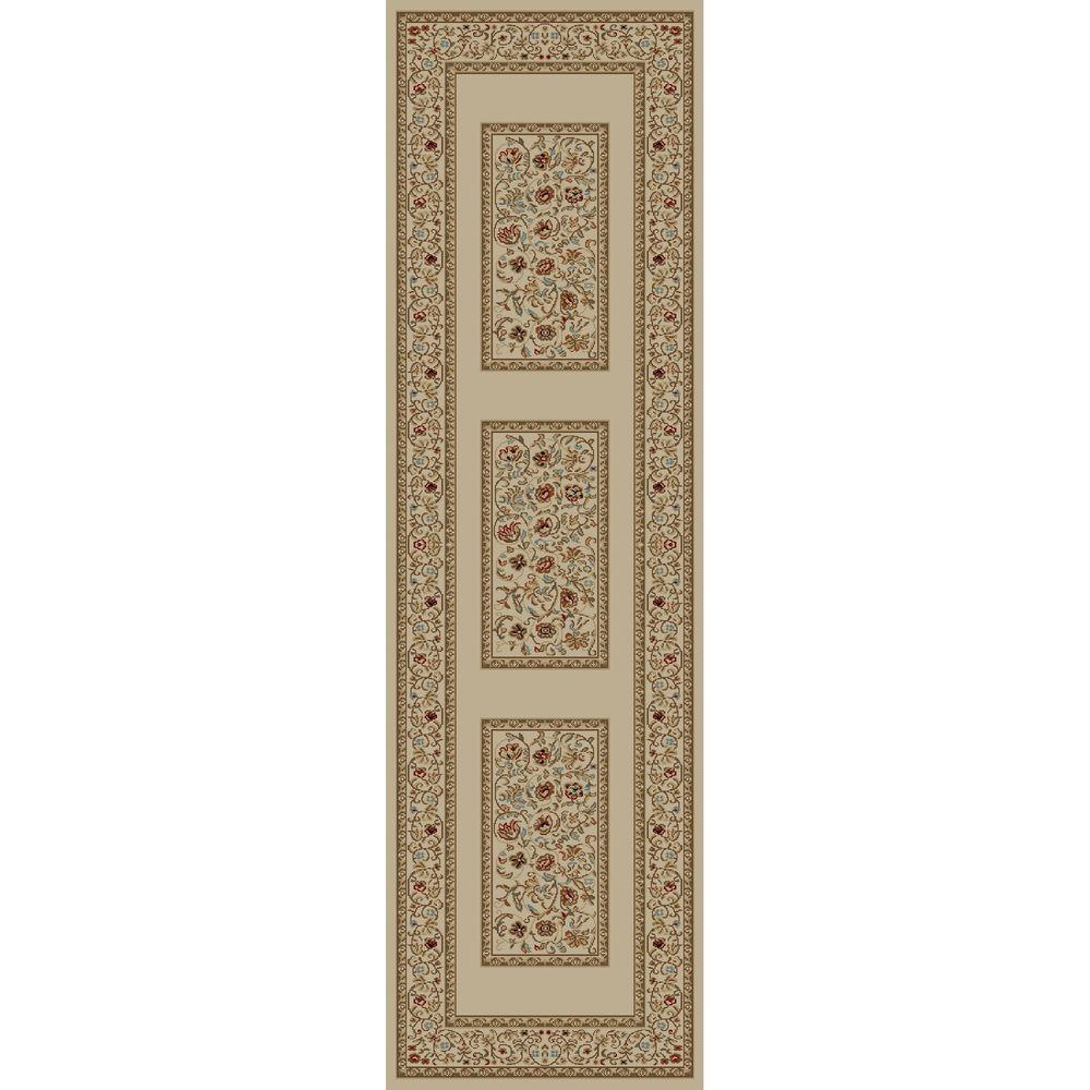 Concord Global Trading Ankara Floral Border Ivory 2 ft. 2 in. x 7 ft. 3 in. Rug Runner
