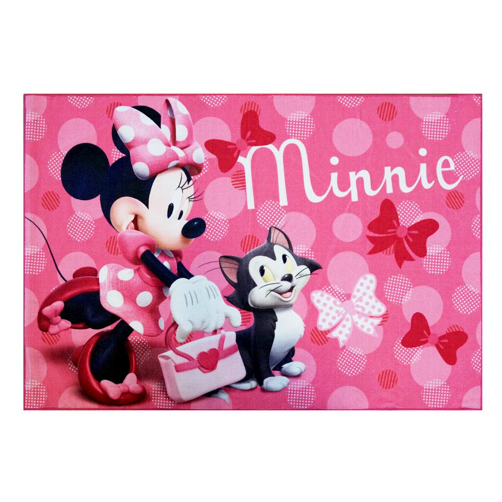 Disney Minnie Mouse Pink 5 Ft X 7 Ft Juvenile Area Rug 46909