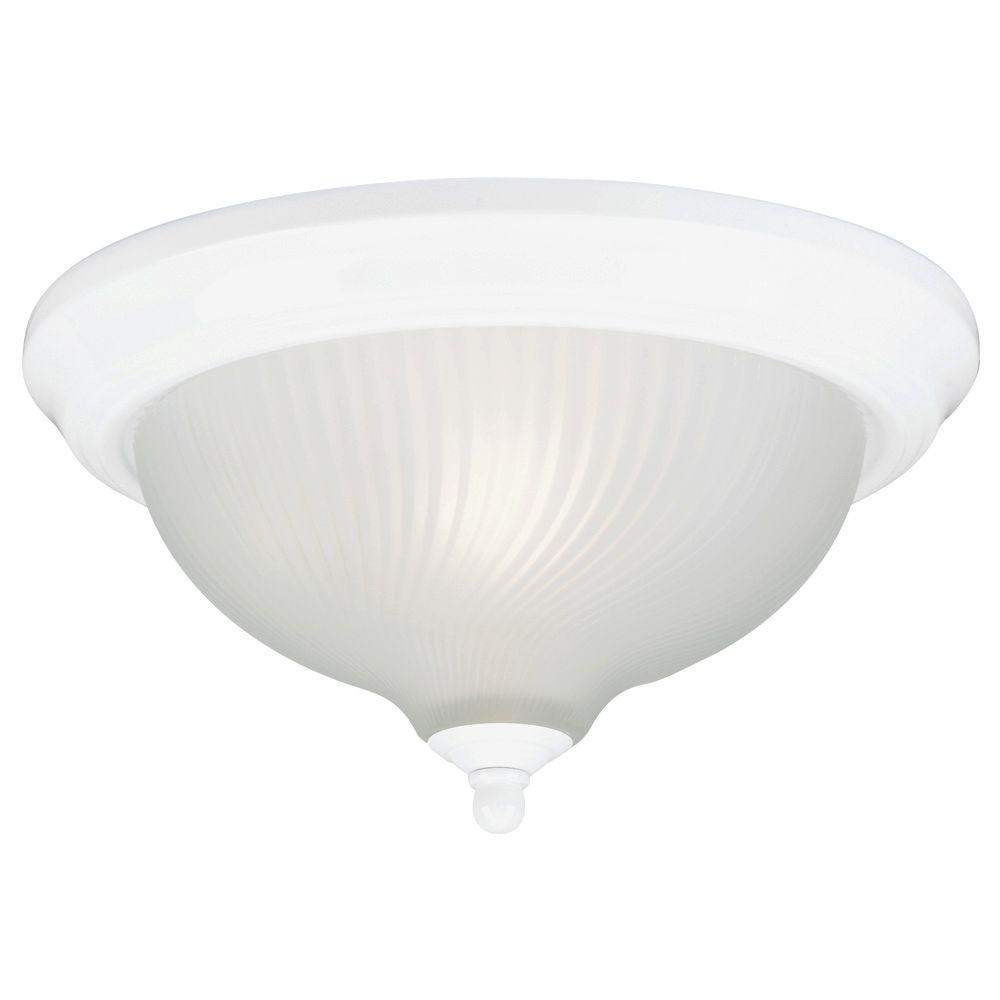 Westinghouse 2 Light Ceiling Fixture White Interior Flush Mount With Frosted Swirl Glass 6430000