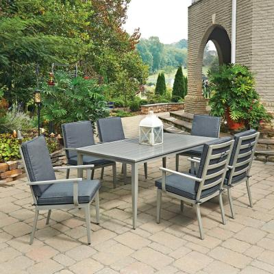 South Beach Grey 7-Piece Rectangular Extruded Aluminum Outdoor Dining Set with Gray Cushions