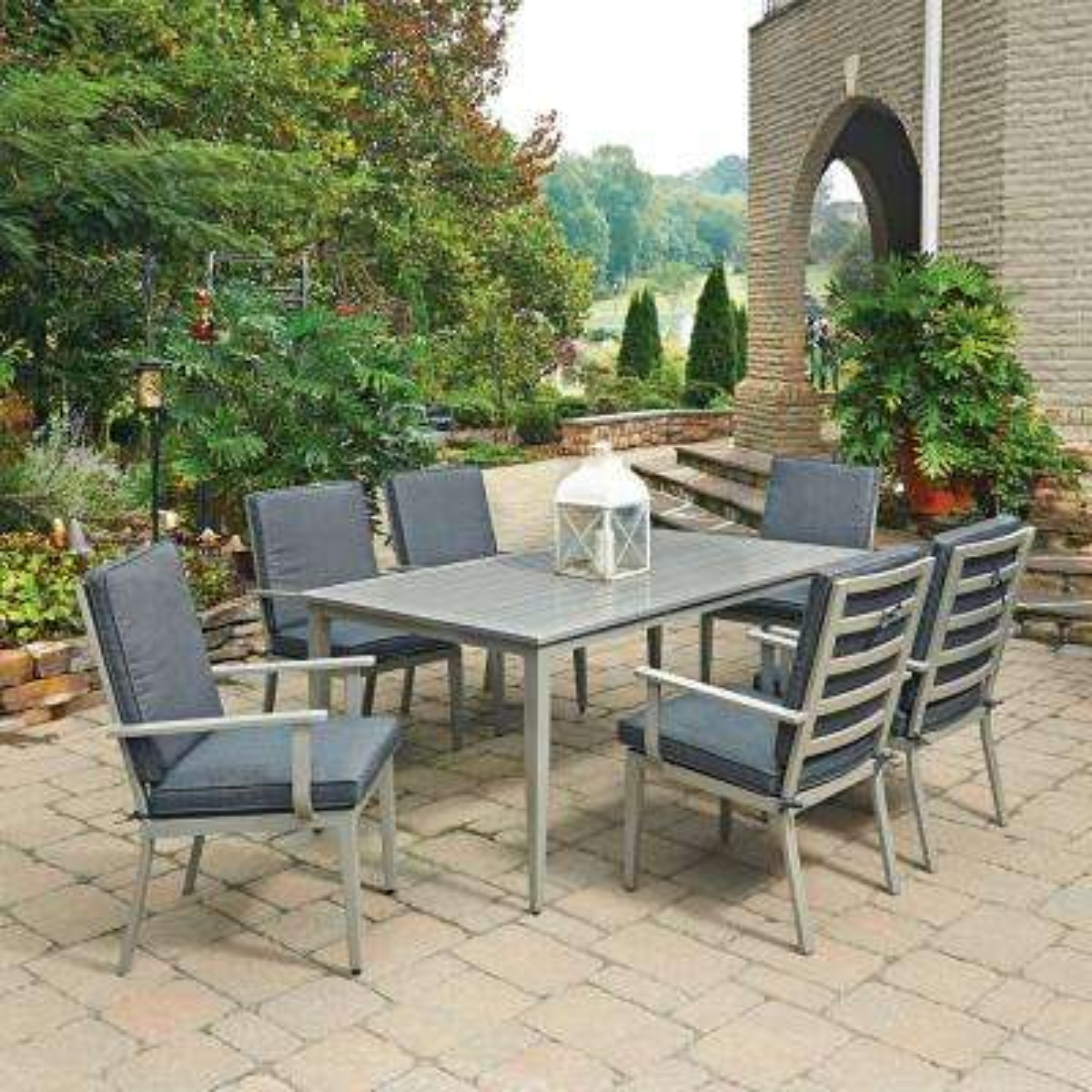 South Beach Grey 7-Piece Rectangular Extruded Aluminum Outdoor Dining Set with Gray Cushions