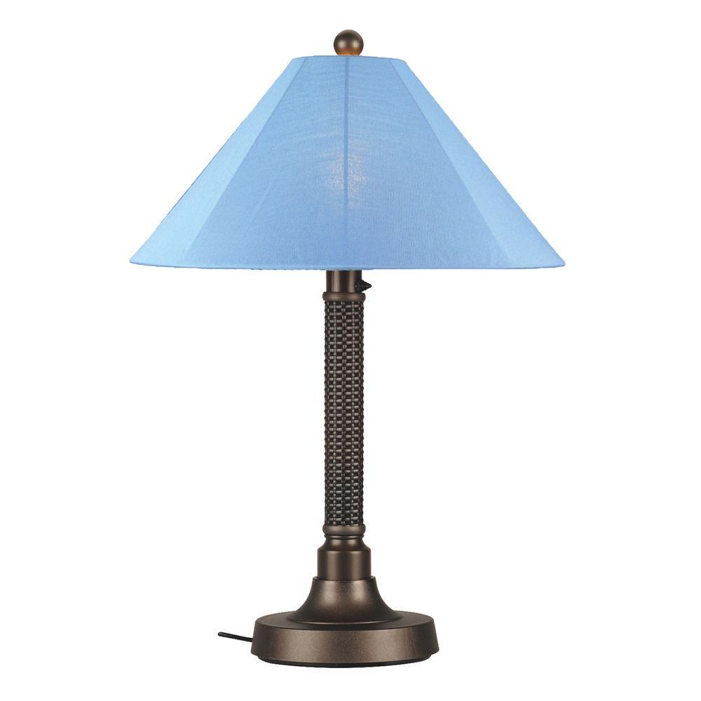 Bahama Weave 34 in. Dark Mahogany Outdoor Table Lamp with Sky Blue Shade