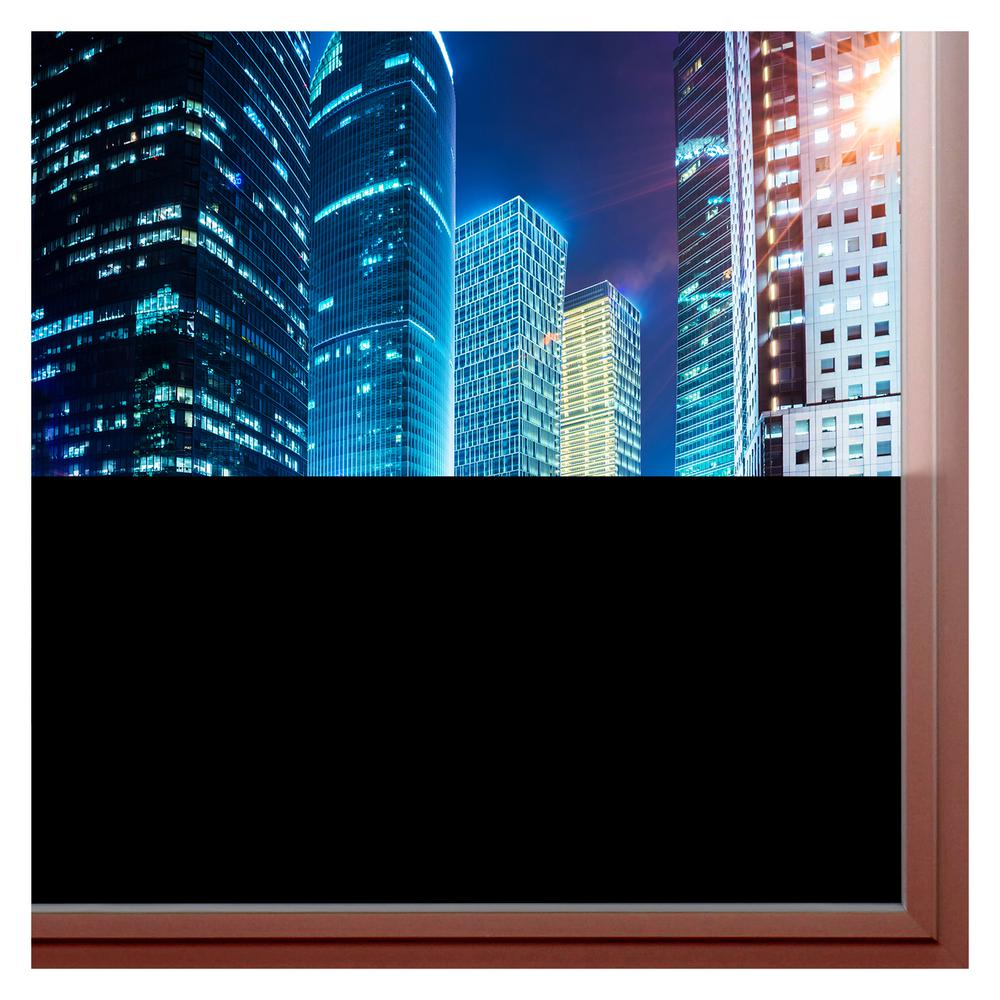 Buy Decorative Film 36 in. x 12 ft. Blkt Blackout Privacy Window Film Blocking virtually all light through the window, Buydecorativefilms Blackout privacy window film ensures almost 100% opacity. When applied to your window, the Blackout window film will create a nearly pitch black setting in your room. Wherever you desire almost complete darkness and maximum sunlight control, the Blackout film will provide these qualities to suit your needs. Perfect for rooms that receive a lot of sunlight but dont desire it, the Blackout is an excellent choice for those who want to block light without the use of curtains or blinds.