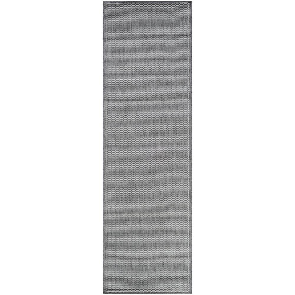 Recife Saddle Stitch Grey-White 2 ft. x 8 ft. Indoor/Outdoor Runner Rug