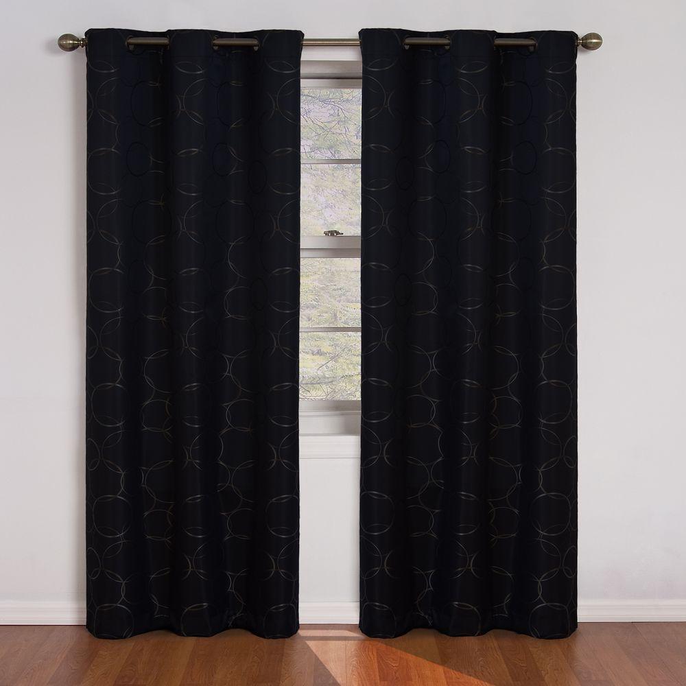 Eclipse Meridian Blackout Window Curtain Panel in Black - 42 in. W x 95 in. L