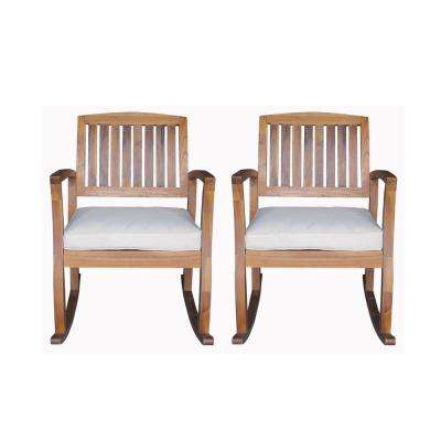 Declan Wood Outdoor Rocking Chair with White Cushion (2-Pack)