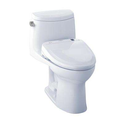 UltraMax II Connect+ 1-Piece 1.28 GPF Elongated Toilet with Washlet S300e Bidet Seat and CeFiOntect in Cotton White