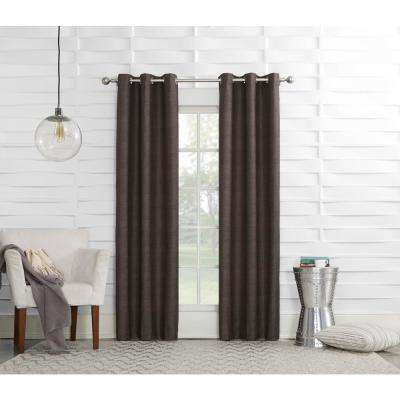 Tom 40 in. W x 95 in. L Chocolate Thermal lined Pole Top Curtain