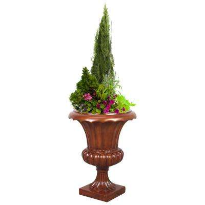 17 in. Dia x 23 in. High Fiberglass Corinthian Tuscany Urn Planter, Wood Color Finish, Indoor Outdoor Planter Urn