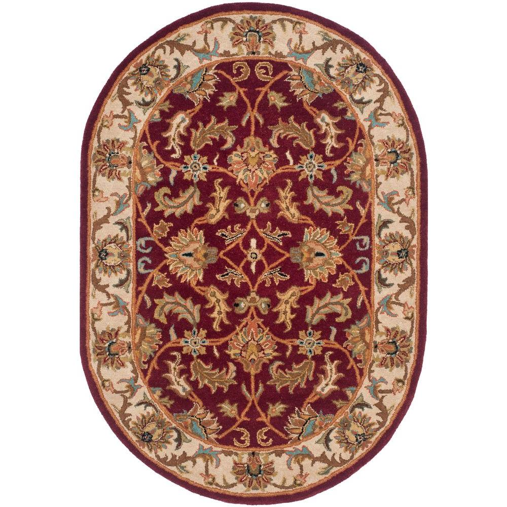 Large Oval Area Rugs: Safavieh Heritage Red/Ivory 4 Ft. 6 In. X 6 Ft. 6 In. Oval