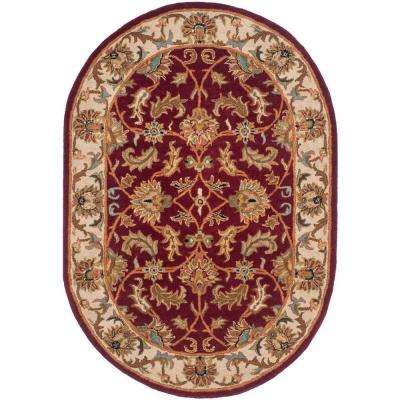 Heritage Red/Ivory 4 ft. 6 in. x 6 ft. 6 in. Oval Area Rug