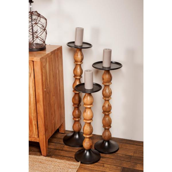 Brown Mango Wood Segmented Candle Holders with Black Aluminum Bobeche and Base (Set of 3)