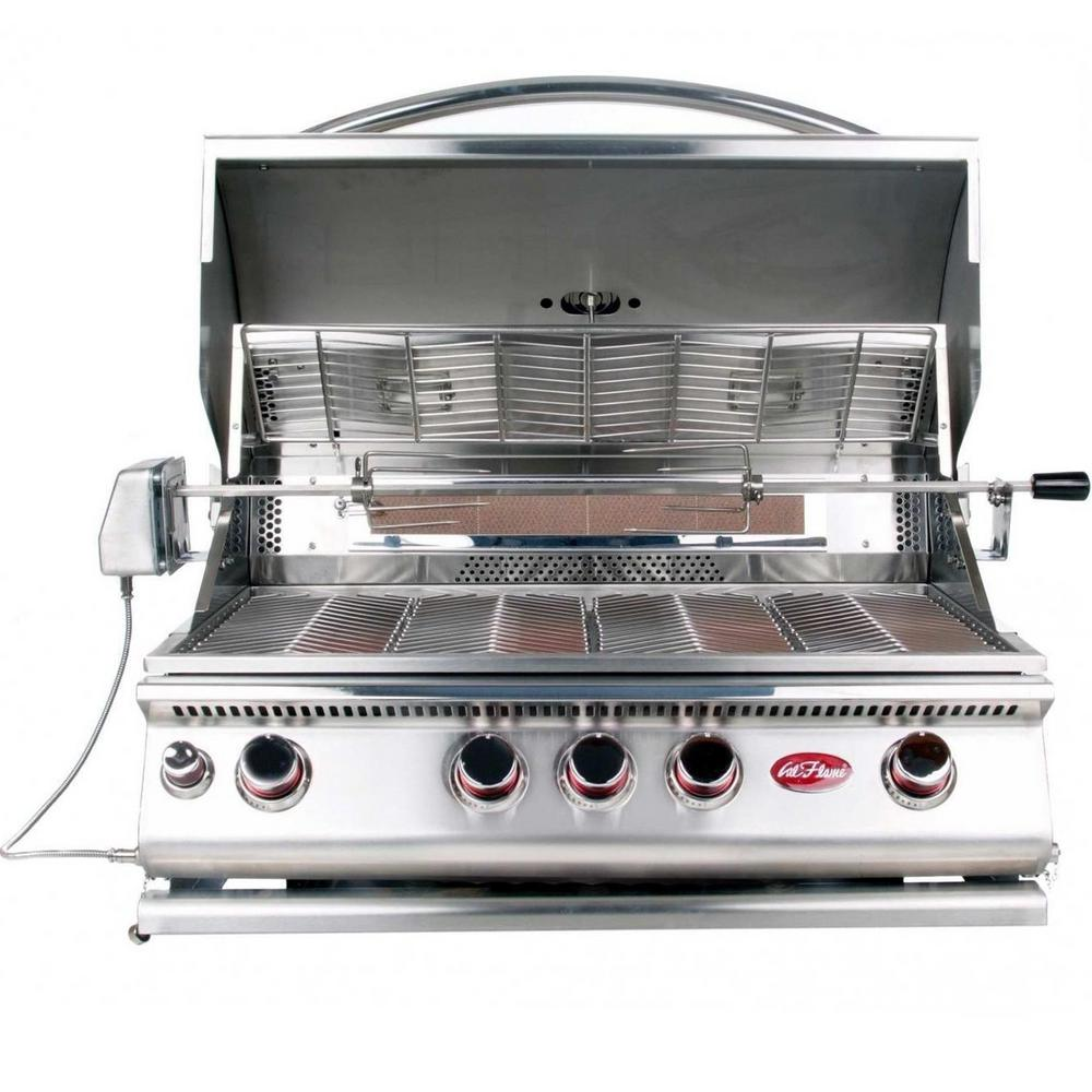 Cal Flame 4-Burner Built-In Stainless Steel Propane Gas Convection Grill with Infrared Rotisserie