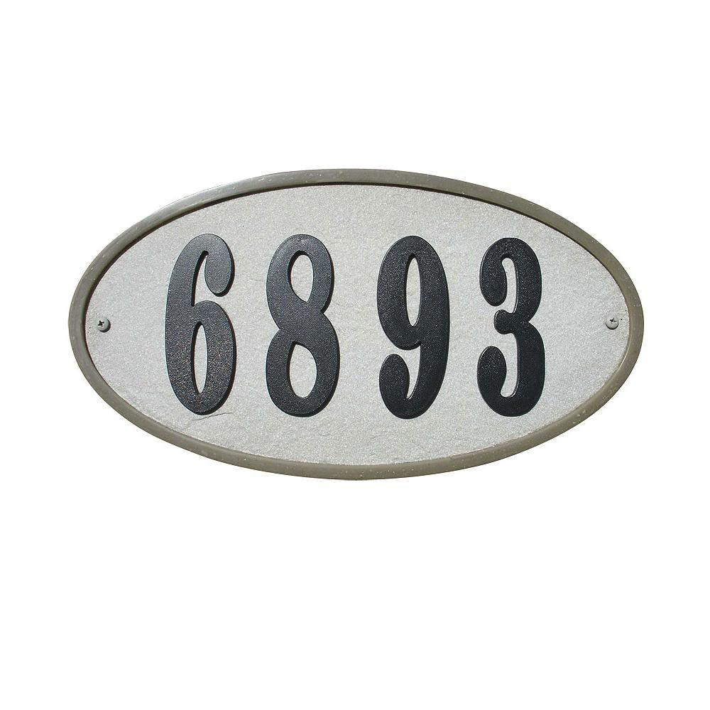 QualArc Ridgestone Oval Crushed Stone Address Plaque in Slate Stone Color