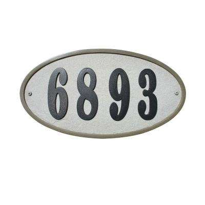 Ridgestone Oval Crushed Stone Address Plaque in Slate Stone Color