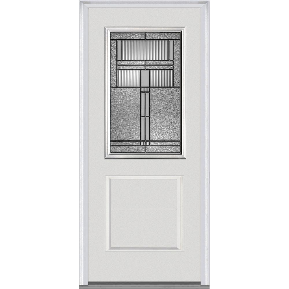 37 5 in  x 81 75 Brighton Decorative Glass 1 2 Lite White Front Doors Exterior The Home Depot