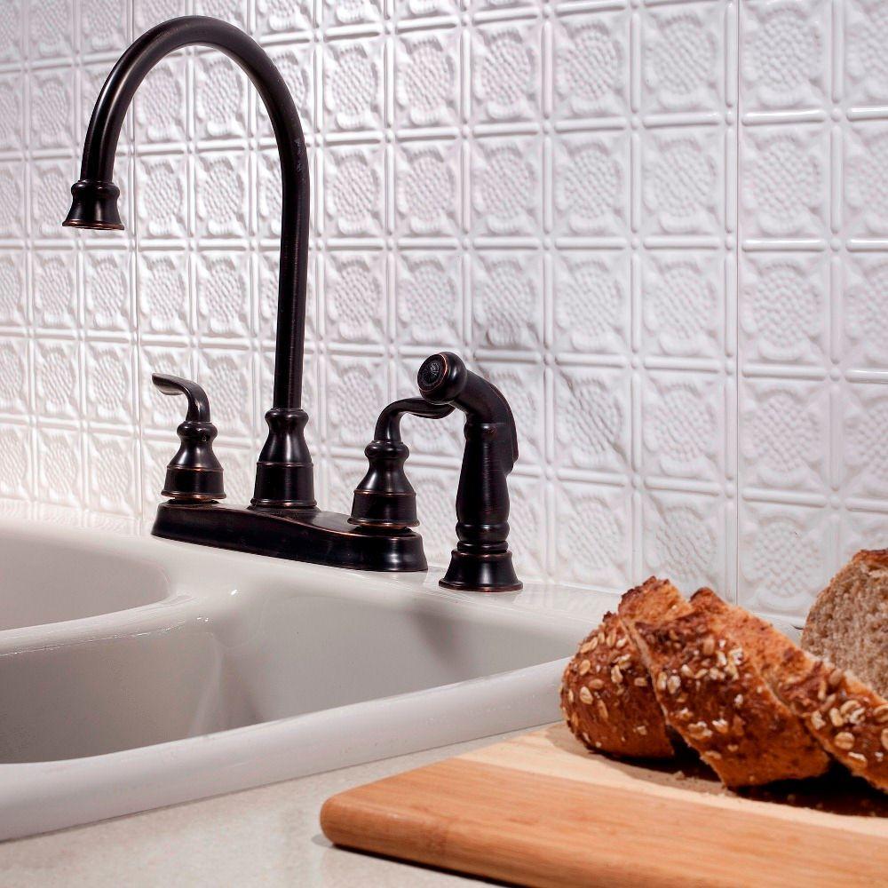 Fasade 24 in. x 18 in. Traditional 6 PVC Decorative Backsplash Panel in Gloss White