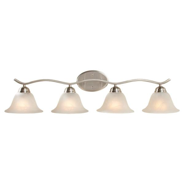 Hampton Bay Andenne 4 Light Brushed Nickel Bath Vanity Light With Bell Shaped Marbleized Glass Shades 2828 Bn The Home Depot