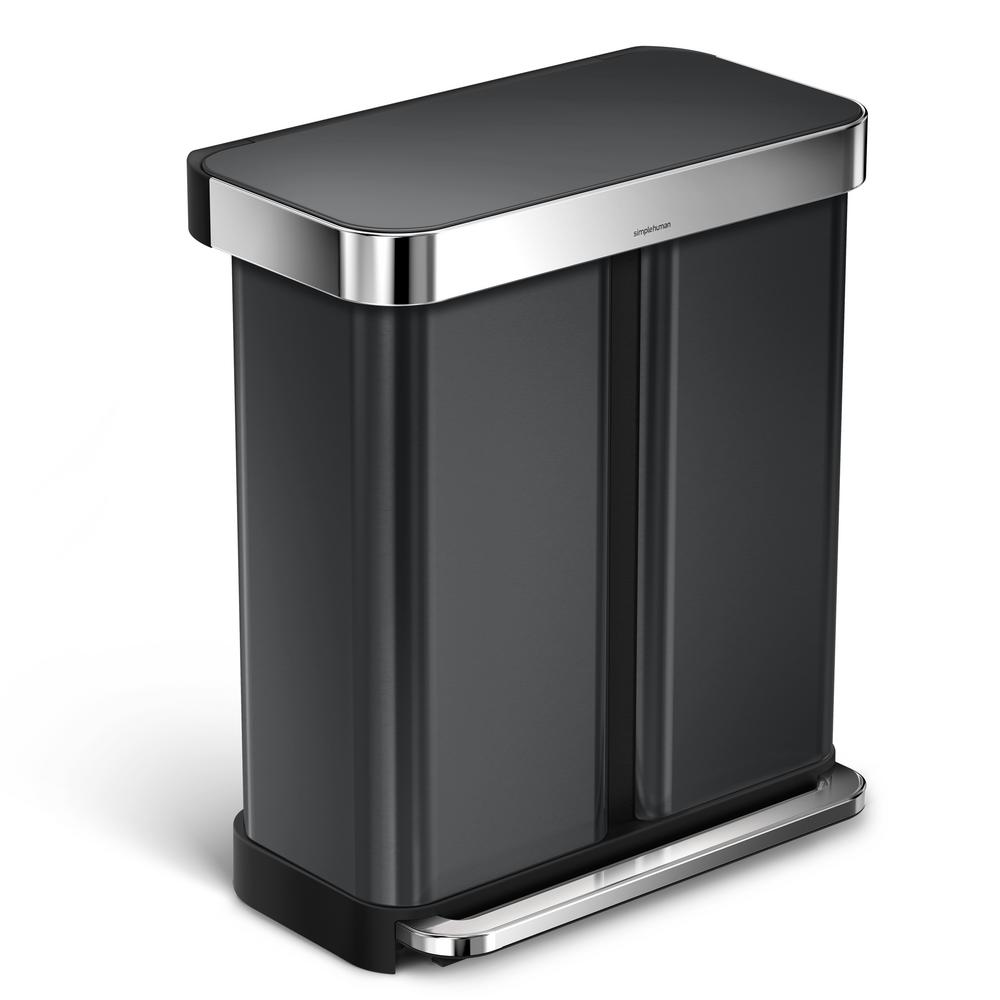 Simplehuman 58 L Black Stainless Steel Dual Compartment