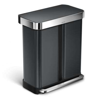 58 l Black Stainless Steel Dual Compartment Rectangular Recycling Step-On Trash Can