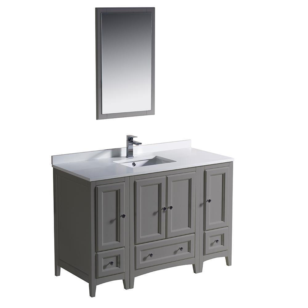 Fresca Oxford 48 in. Traditional Bathroom Vanity in Gray with Quartz ...