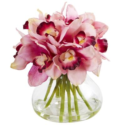 Cymbidium Orchid Artificial Arrangement in Glass Vase