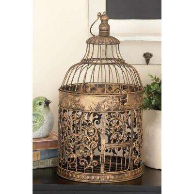 Large: 20 in; Small: 15 in. Classic Brass-Finished Iron Hanging and Standing Birdcages
