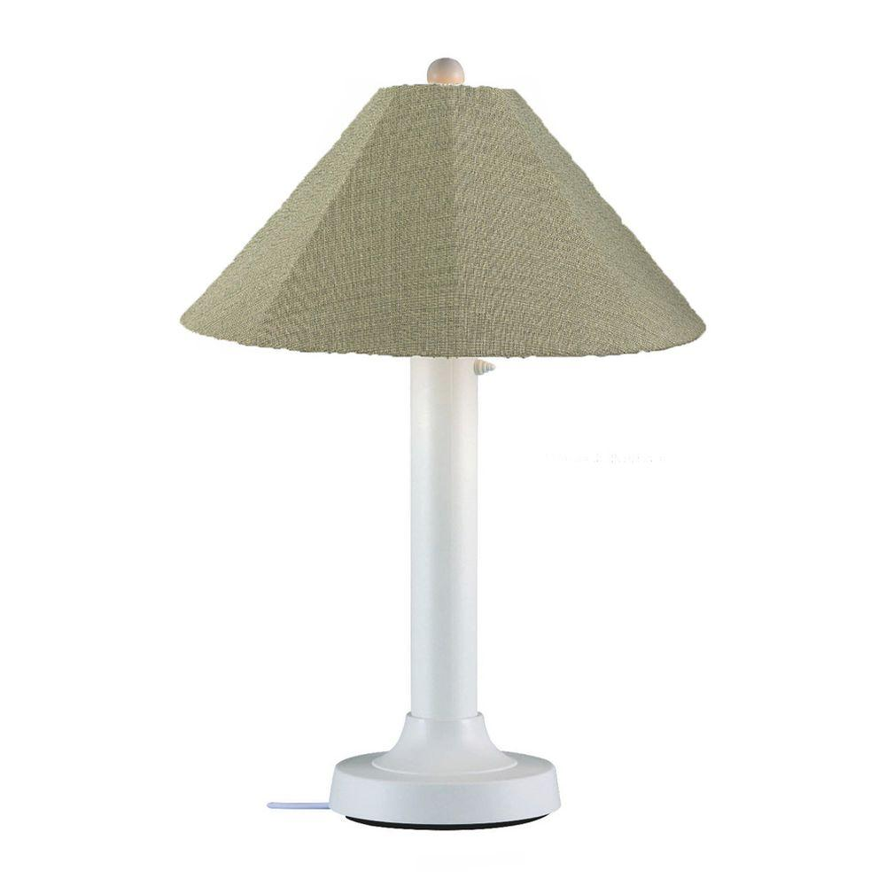 Catalina 34 in. White Outdoor Table Lamp with Basil Linen Shade