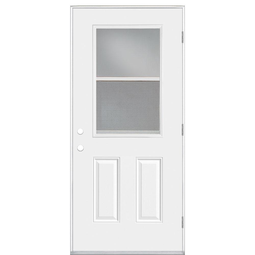 Masonite 36 in x 80 in premium 1 2 lite vent left hand outswing primed steel prehung front 36 x 80 outswing exterior door