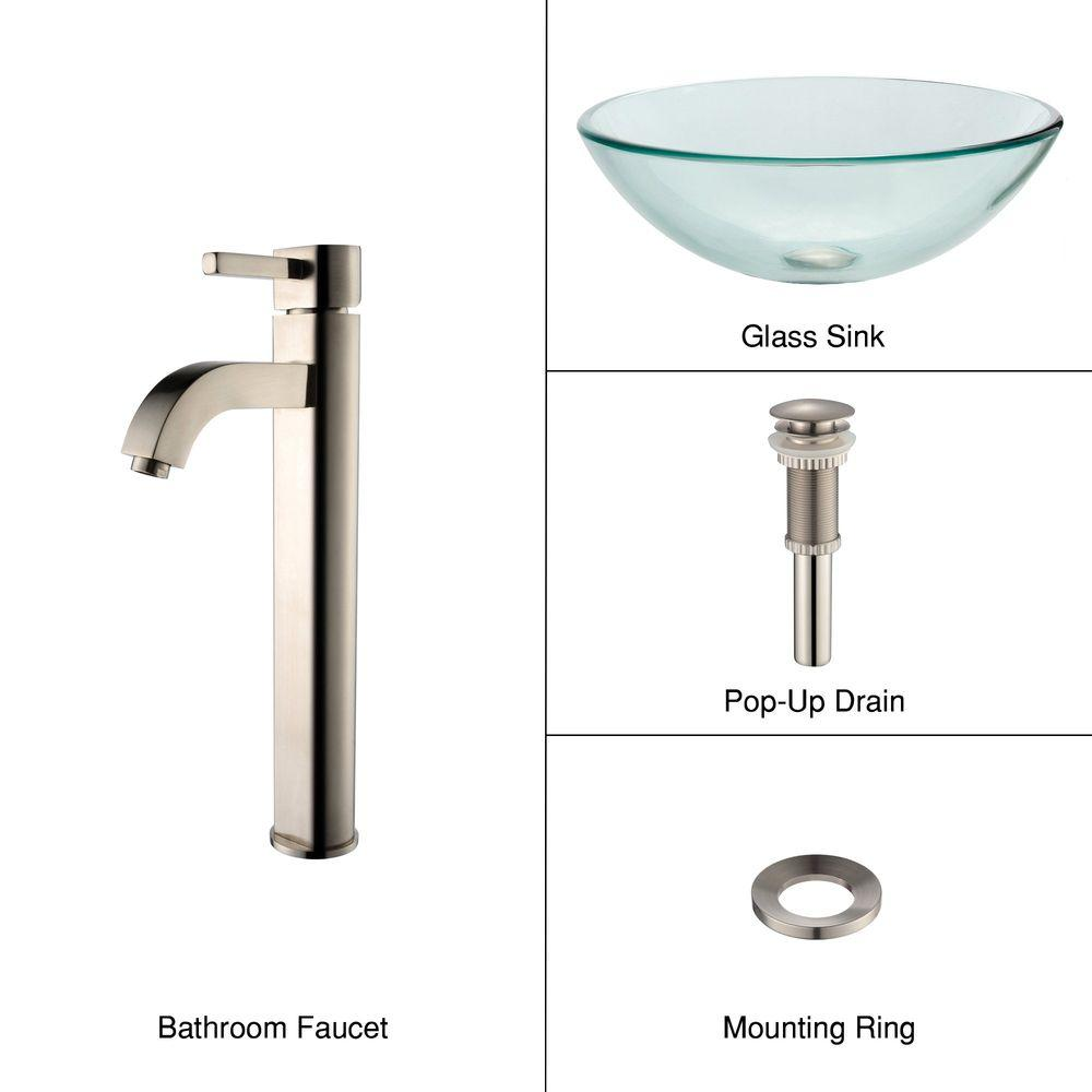 KRAUS Square Glass Vessel Sink in Clear with Pop-Up Drain and ...