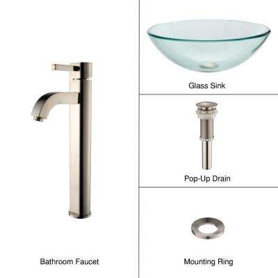Glass Vessel Sink in Clear with Ramus Faucet in Satin Nickel
