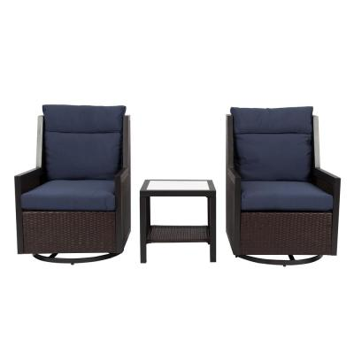 Daria 3-Piece All-Weather Wicker Patio Seating Set with Navy Cushions