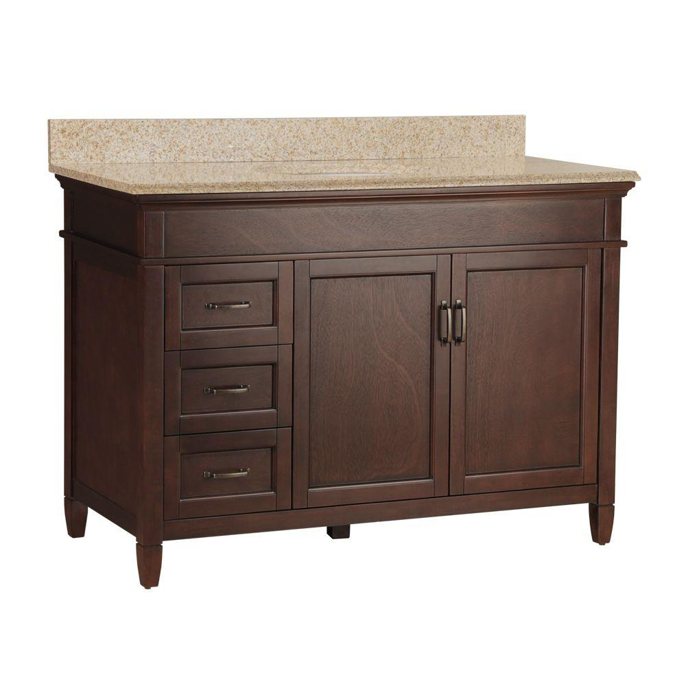 Home Decorators Collection Ashburn 49 in. W x 22 in. D Bath Vanity in Mahogany with Left Drawers with Granite Vanity Top in Beige