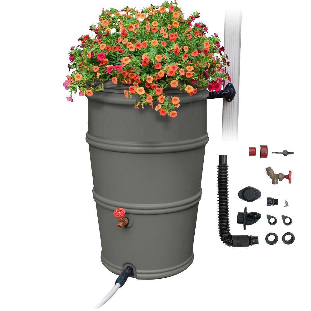 RainStation 50 Gal. Rain Barrel with Diverter System in Granite Color