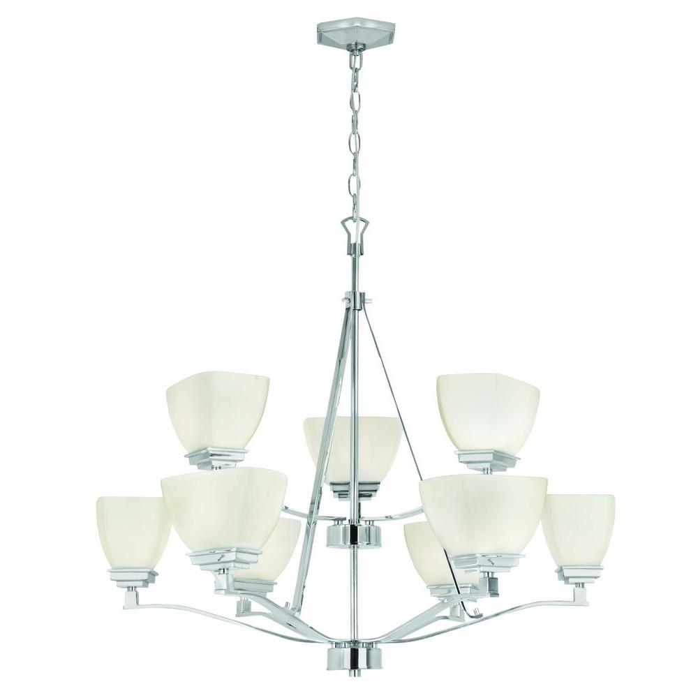 Home Decorators Collection Sydney 9-Light Polished Nickel 2-Tier Chandelier