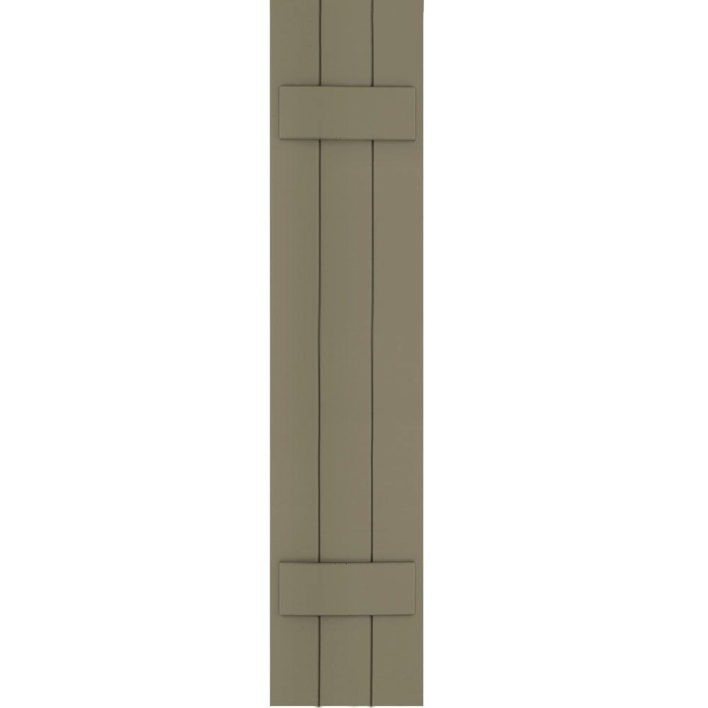 Winworks Wood Composite 12 in. x 55 in. Board & Batten Shutters Pair #660 Weathered Shingle