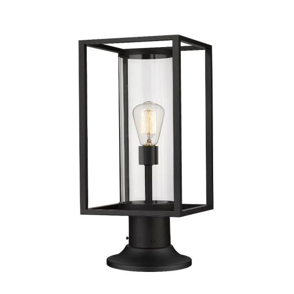 1-Light Black Outdoor Pier Mounted Fixture with Clear Glass Shade