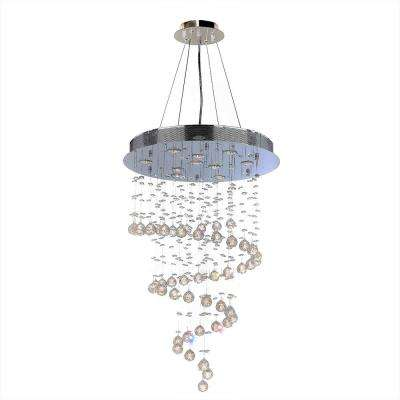 Helix Collection 10-Light 36 in. Polished Chrome Chandelier with Clear Crystal