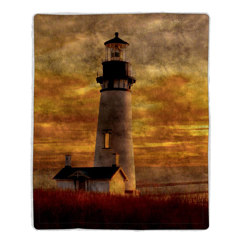 Lighthouse Print Sherpa Fleece Blanket